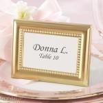 Tischkarte Fotorahmen Perlen Gold